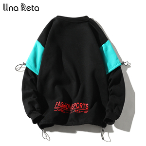 Image 2 - UnaReta Winter Neue Hip hop Männer Sweatshirt Mode Gefälschte zwei stück design Warme Fleece Pullover Tops Mens Casual Streetwear