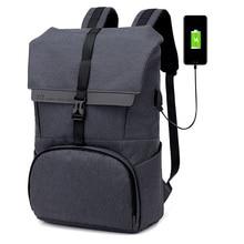 цена на Gaoge Men Backpack Travel  Teenager School  Bag Office Laptop Bag Soft With USB Charging Port Zipper Waterproof Casual Backpack
