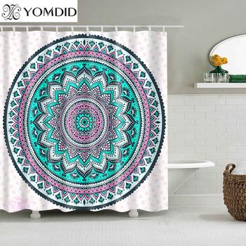Indian Mandala zasłona prysznicowa nadruk w kwiaty geometryczne czeskie zasłony łazienkowe ściana prysznica wiszące geometryczne zasłony prysznicowe tanie i dobre opinie YOMDID Poliester TO13F Nowoczesne Ekologiczne
