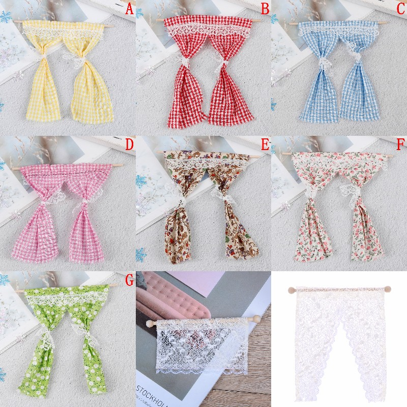Cute Dollhouse Miniatures Lattice And Lace Pink Cotton Curtain For 1/12 Scale Dolls House Bedroom Furniture Decor Acc