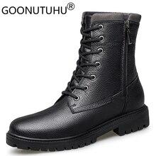 2020 الخريف الشتاء الرجال الأحذية العسكرية عادية حقيقية أحذية من الجلد الذكور القتالية الجيش التمهيد رجل الثلوج أحذية للرجال حجم كبير 36 48