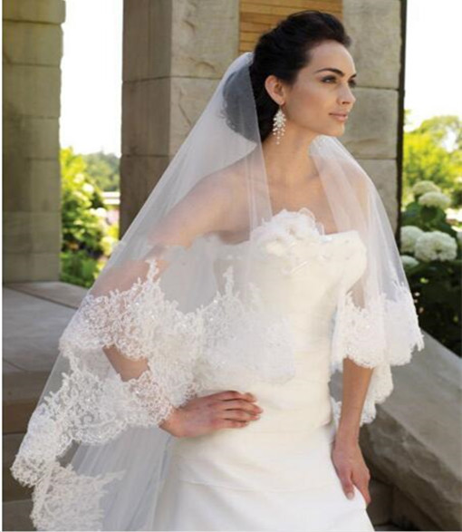 Custom Made Bridal Long Lace Veil With Comb Wedding Accessories Two Tiered Lace Edge Sequin Bridal Veil BV06