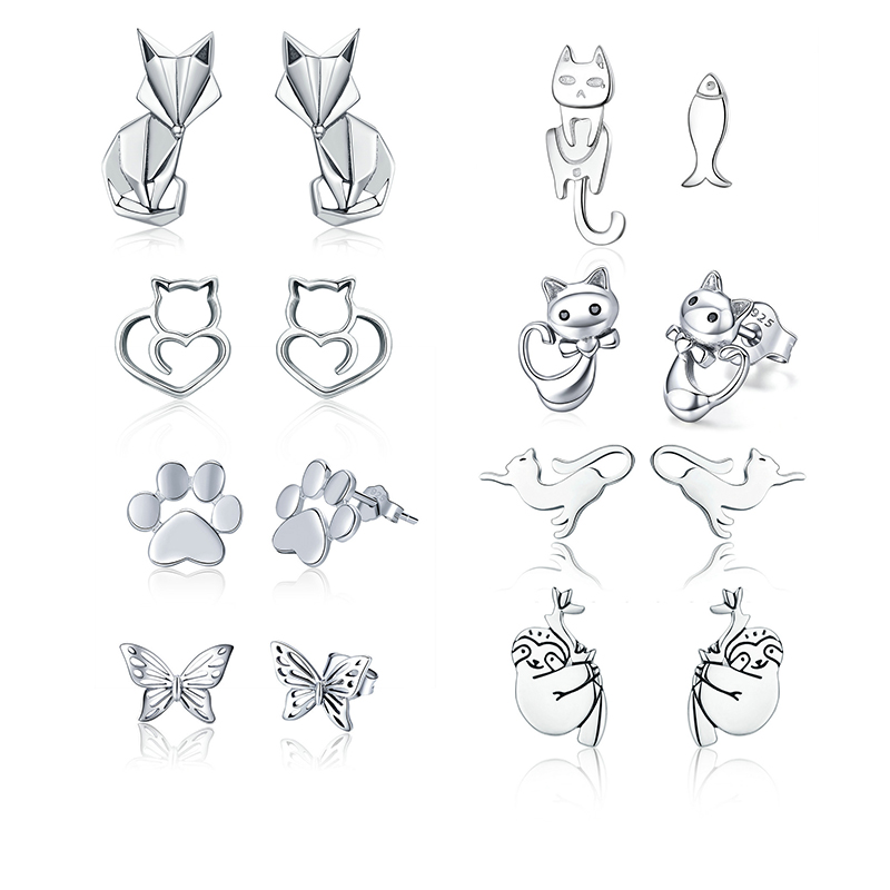 BISAER High Quality 925 Sterling Silver Folding Fox Silver White CZ Stud Earrings Jewelry Making Gifts for Lover&Mother GXE526