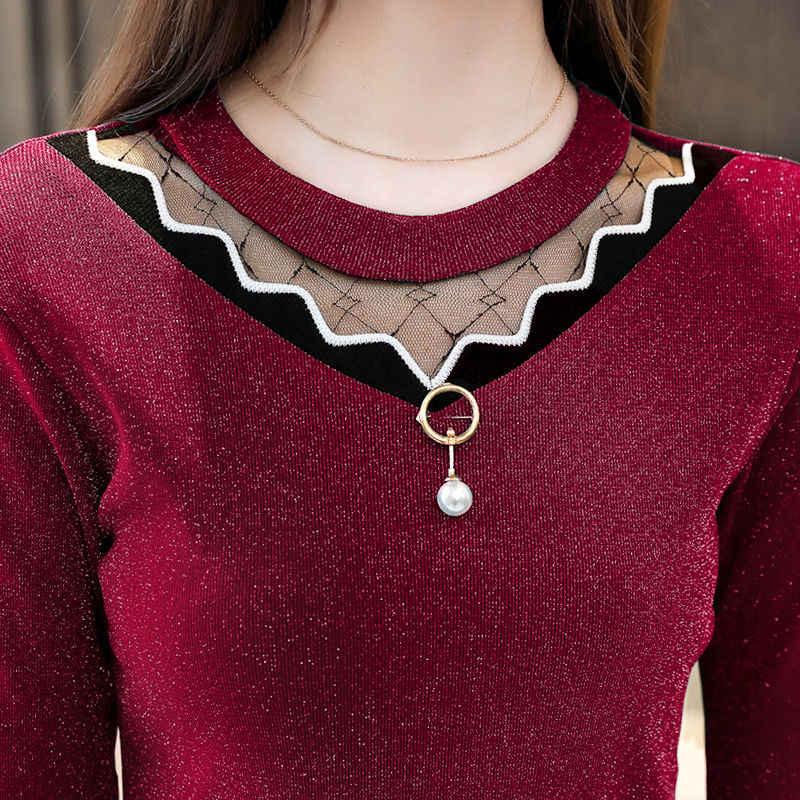 Wanita Blus Musim Gugur Musim Dingin 2019 Musim Semi Lengan Panjang Blus Beludru Renda Tipis Kemeja Streetwear Mesh Ukuran Elegan Tops