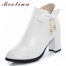 Meotina Women Boots Winter Ankle Bow Zipper Block Heel Short Pearl Extreme High Shoes Ladies Autumn Size 33-43