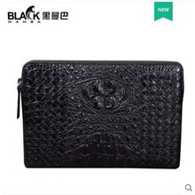 heimanba Thailand crocodile leather handbag envelope genuine hand-woven clutch bag leisure middle-aged new men