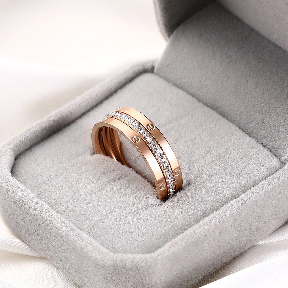 Luxury No Fade Rose Gold Stainless Steel Zircon Rings For Women Ladies Romantic Engagement Wedding Ring Set Female Party Jewelry