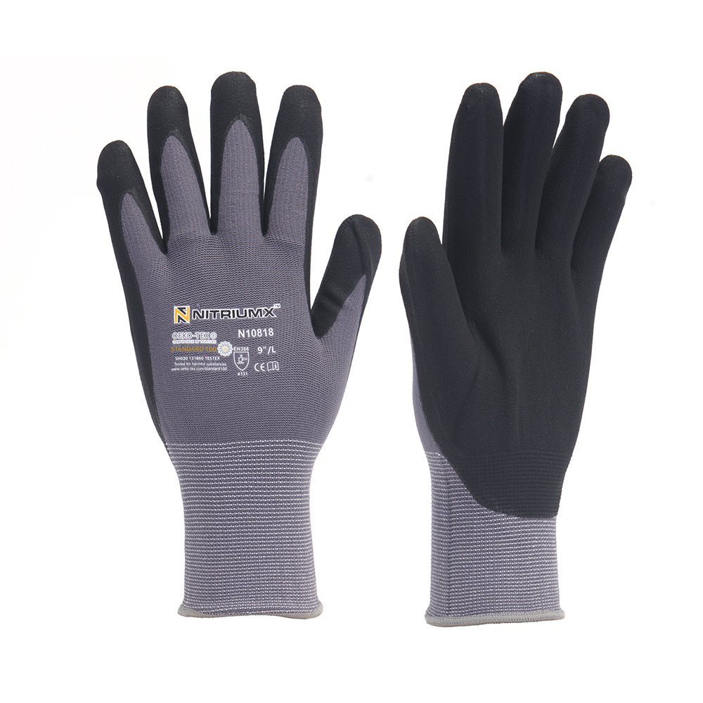 Nylon PU Nitrile Safety Coating Work Gloves Palm Coated Gloves Mechanic Working Gloves M/L