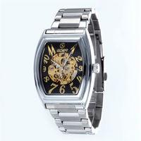 GOER Fashion Tonneau Watches Men Automatic Mechanical Watches Men Fashion Casual Skeleton Watches Men relogio masculino