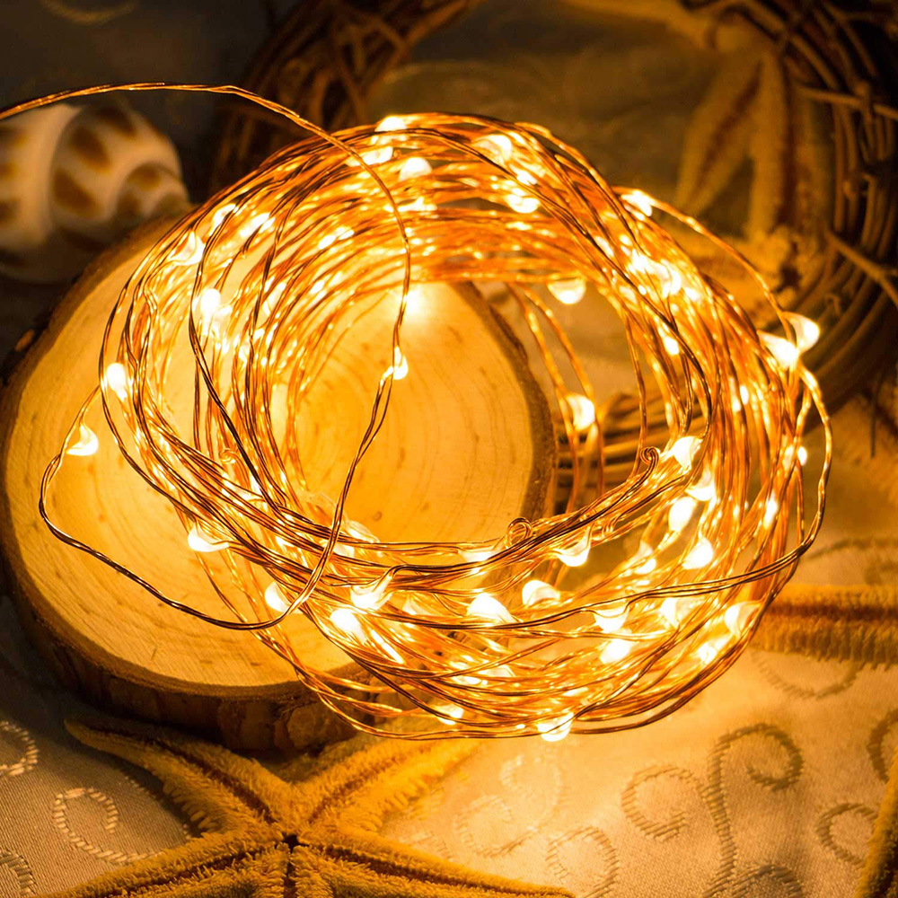 1/2/3/5/10M LED Copper Wire String Lights AA Battery Operated Holiday Outdoor Fairy Light For Christmas Party Wedding Decoration