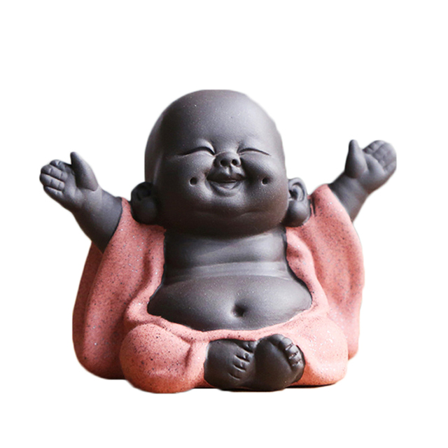 N Tea Favor Happy Maitreya Buddha Tea Pet Teahouse Ornaments Ceramic Home Decor Succulent Plants Decoration 4 style for choosing 1