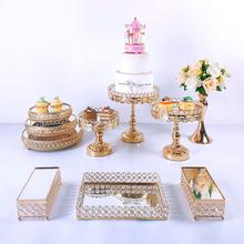 8-10 sztuk kryształowa patera na tort zestaw metalowe lustrzane stojak na babeczki dekoracje deser cokole wesele wyświetlacz ciasto taca tanie tanio CN (pochodzenie) Tak ( 50 sztuk) Ślub i Zaręczyny Wielkie wydarzenie przyjęcie urodzinowe Przeprowadzka THANKSGIVING