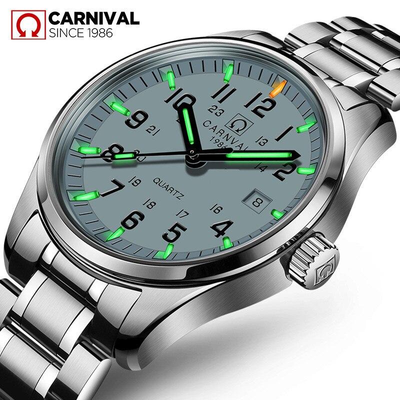 Carnaval T25 Tritium lumineux montre hommes militaires hommes montres haut de gamme de luxe Quartz montre bracelet mâle horloge Reloj Hombre 2019 - 2