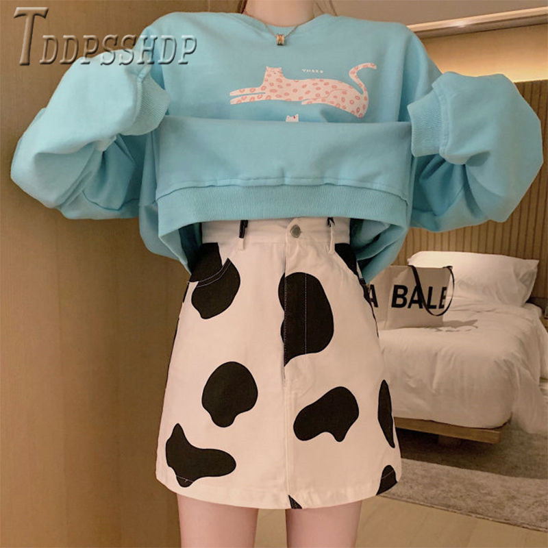 Korean High Waist Milk Cow Printed Women Skirt A Line Easy To Match Female Skirts