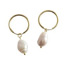 Filluck 925 Sterling Silver Earring Baroque Natural Freshwater Pearl Pendant Earrings Fine Jewelry For Women Fashion Luxury цена 2017