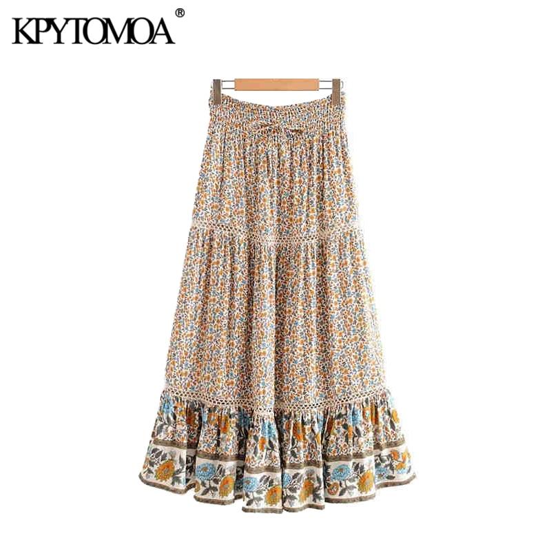 KPYTOMOA Women Bohemian Vintage Floral Print Maxi Skirt Tie Elastic Waist Boho Chic Summer Beach Skirts Faldas Mujer
