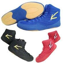 Профессиональные мужские боксерские тренировочные ботинки Резиновая подошва Боевая обувь для тяжелой атлетики дышащие Спортивные кроссовки обувь для борьбы