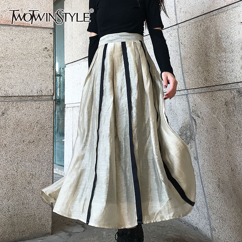TWOTWINSTYLE Elegant Striped Women's Skirts High Waist Hit Color A Line Skirts Female 2020 Spring Fashion New Clothing