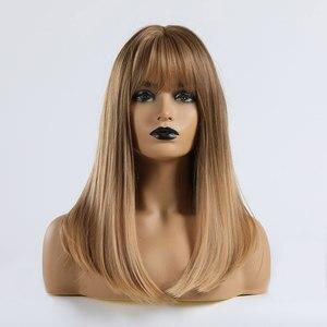 Image 4 - ALAN EATON orta düz isıya dayanıklı sentetik saç peruk Ombre siyah kahverengi sarışın gri kadın parti Cosplay Lolita Bobo peruk