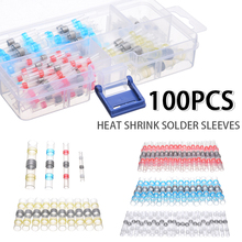 цена на 100pcs Heat Shrink Butt Wire Connectors Waterproof Solder Seal Wire Connector Cable Terminals Electrical Connector