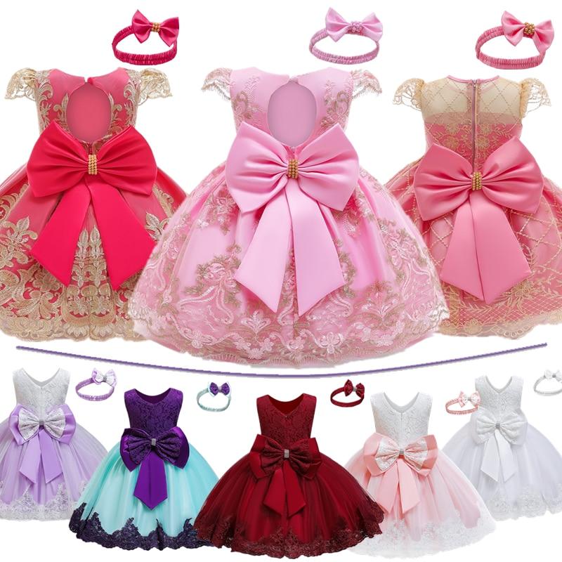 Pierwsza druga urodzinowa sukienka księżniczki dla 1 2 lat dziewczynek 12 miesięcy noworodka chrzest strój świąteczny zestaw odzieży chrzest