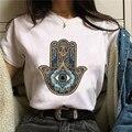 Vogue в винтажном стиле Hamse вверх ручной голубыми глазами футболка женщин рука Фатимы вниз фиолетовая футболка с глазами Классический Тотем Г...