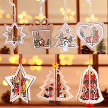 3D Christmas Ornament Wooden Hanging Pendants Star Xmas Tree Bell Christmas Decorations for Home Party SNO88(China)