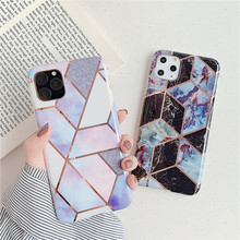Geometric Marble Phone Case Cover For iPhone11 11 Pro MAX XR XS 7 8 6 6S Plus Funda Lovely Cute Soft Silicone