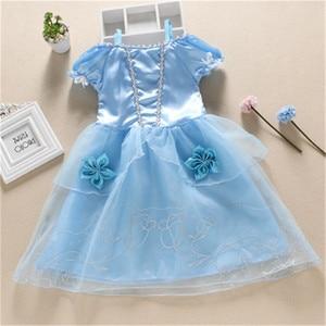 Image 5 - בנות מסיבת שמלת ילדים שלג לבן ליל כל הקדושים תלבושות תינוקת נסיכת שמלת חג המולד אורורה סופיה Belle שמלת עבור 2 3 4 5 6 7Y