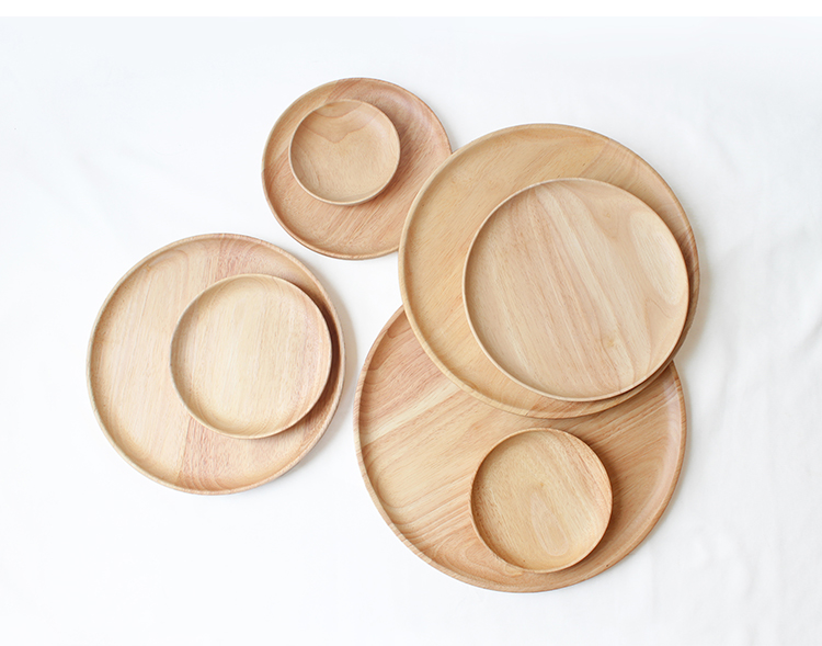Wooden Round Storage Tray Plate Tea Food Dishe Drink Platter Food Plate Dinner Beef Steak Fruit Snack Tray Home Kitchen Decor