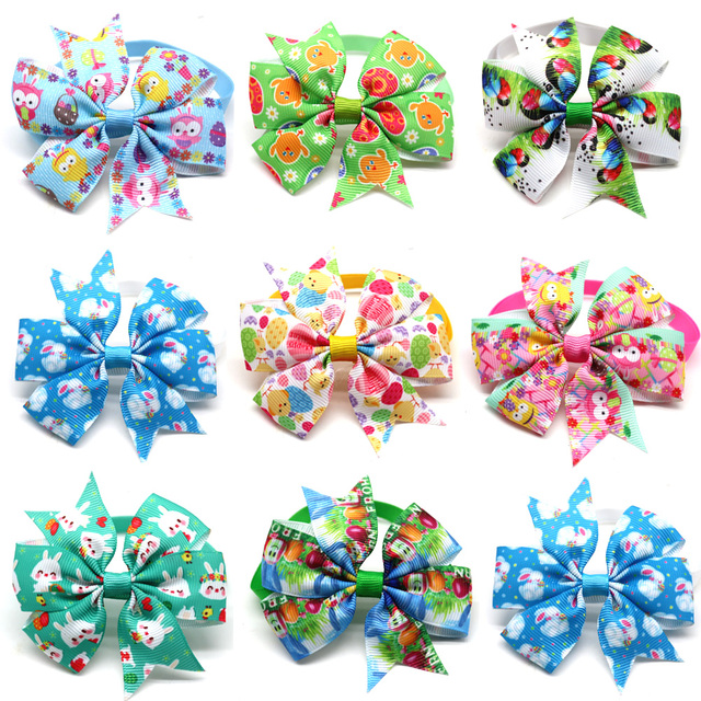50PC Cat Pet Dog Bow Tie Easter Pet Supplies Rabbit Pet Dog Puppy Bowties Neckties  Dog Grooming Accessories Pet Products