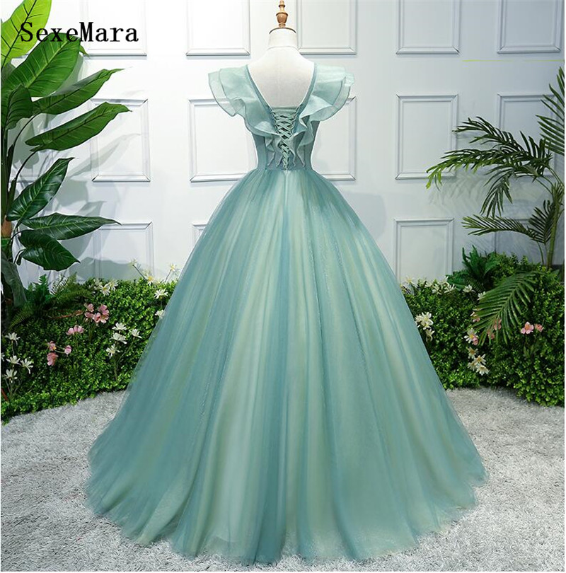 Saoudien arabe vert a-ligne v-cou robe de soirée longues robes de bal 2019 robes de soirée élégantes - 4