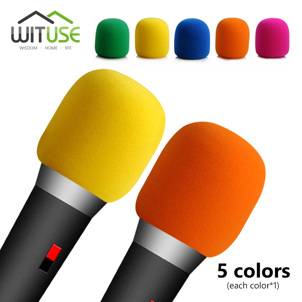 5Pcs Durable 5colors Foam Handheld Stage Microphone Mic Cover Wind Protective Windscreen Grill Audio Shield For Karaoke DJ