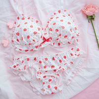 Kawaii Sweet Lolita Women's Strawberry Pattern No Rims Bra & Panties Lingerie Set Bow Ruffle Japanese Underwear Set Intimates