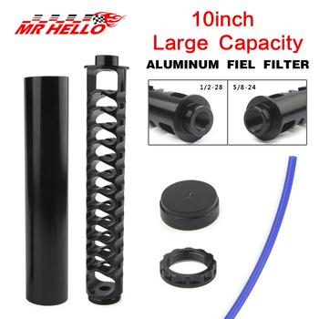 Zwiększyć długim 10 cal aluminium 1 2-28 filtr paliwa ze stopu pojedynczy rdzeń do NaPa 4003 WIX 24003 rozpuszczalnika motocykl tanie i dobre opinie mrhello China 24 5cm 0 5kg 4 4cm aluminum Fuel filter The engine