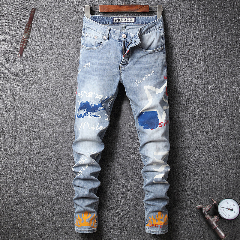 Fashion Streetwear Men Jeans Light Blue Slim Fit Printed Designer Jeans Men Elastic Denim Pants Hip Hop Jeans Homme Size 28-38