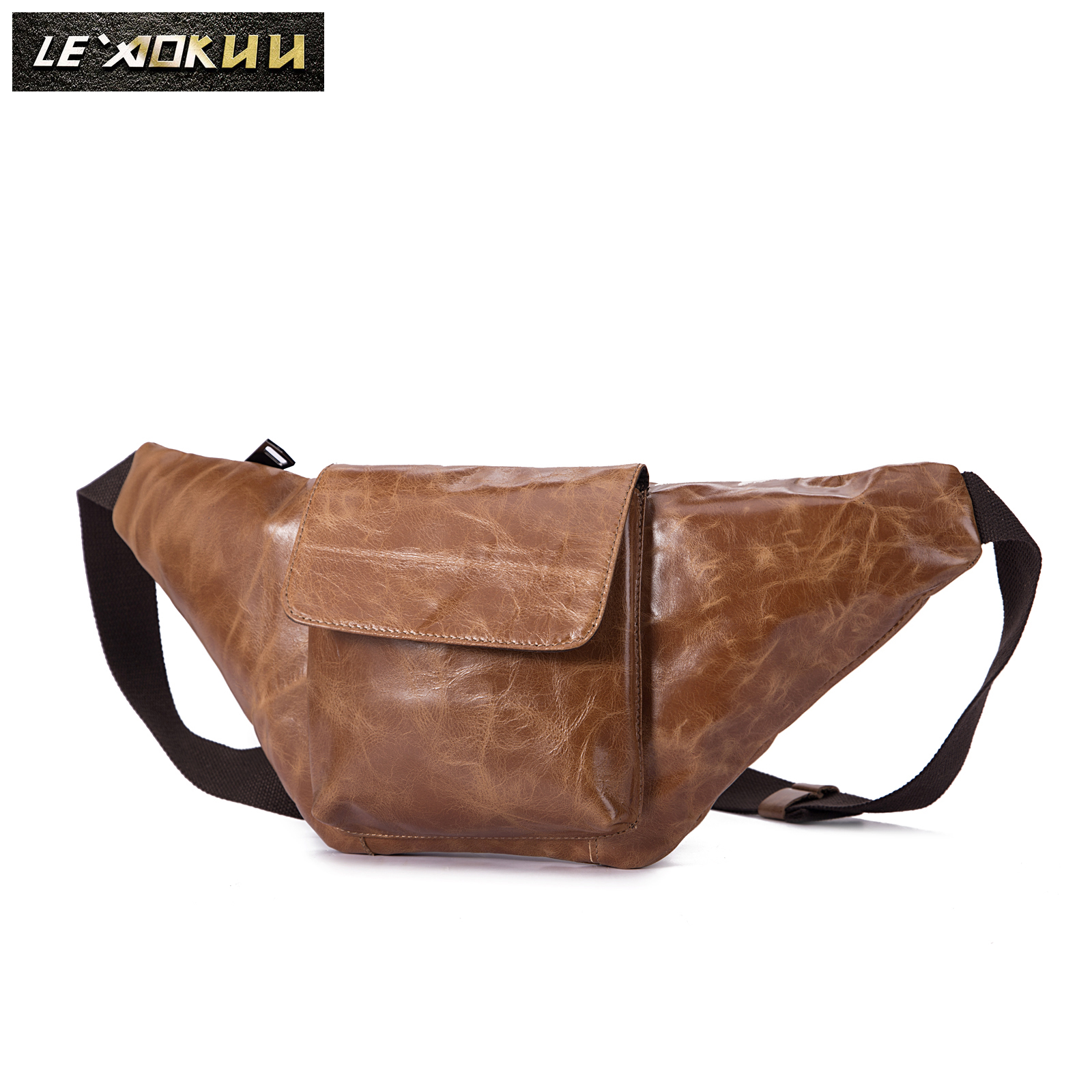 New Quality Leather Men Casual Fashion Travel Fanny Waist Belt Bag Chest Pack Sling Bag Design Phone Cigarette Case Male 2022