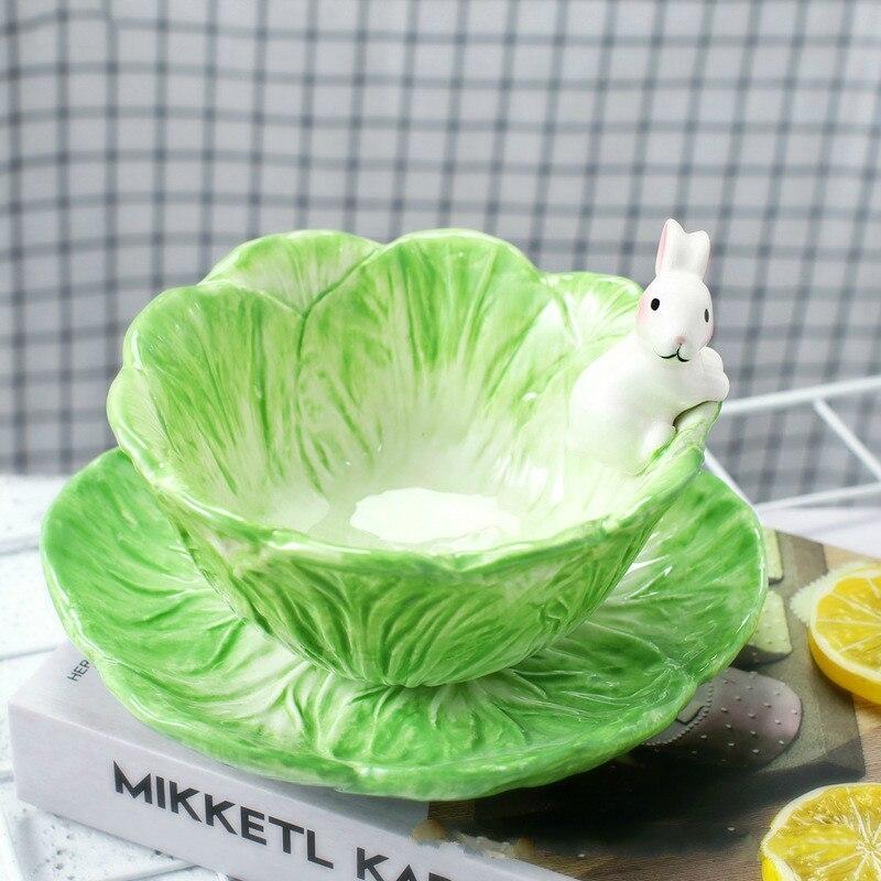 Cute Cartoon Animal Hand Drawn Ceramic Children's Tableware Fruit Salad Dessert Rabbit Cabbage Bowl Bone China Dinnerware Sets