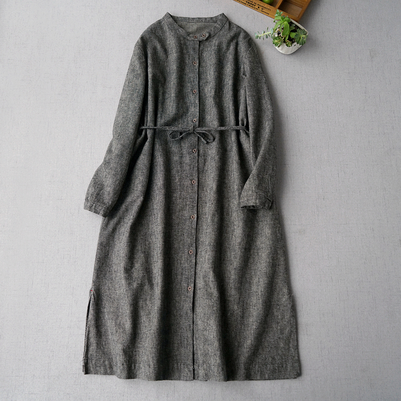 Spring Autumn New Arrival Women All-match Casual Loose Plus Size Japanese Style Brief Gray Comfortable Cotton Linen   Trench   Coats