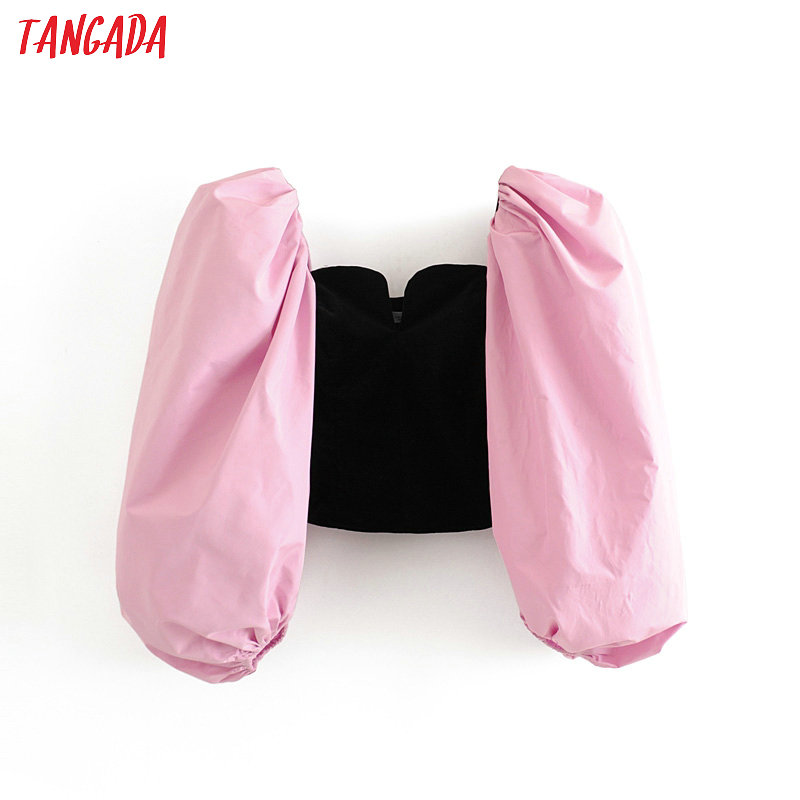 Tangada Women Stretchy Velvet Blouse Short Style Fashion Patchwork Puff Long Sleeve Shirts Female Chic Tops 3H270