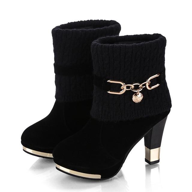 Hiver nouveau épais avec des chaussures femmes bottes à talons hauts femmes bottes en laine givrée dans les bottes Martin femmes chaussures pour femmes