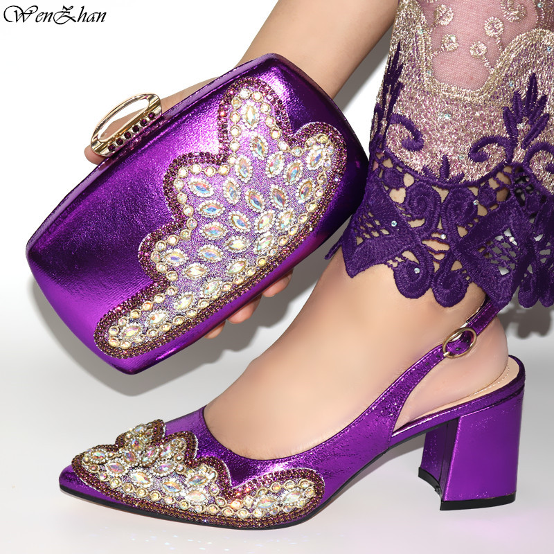 Good Selling Shoes and Bag To Match Purple Italian Women Shoe and Bag To Match for Parties 38-42 African Attractive Set C98-20