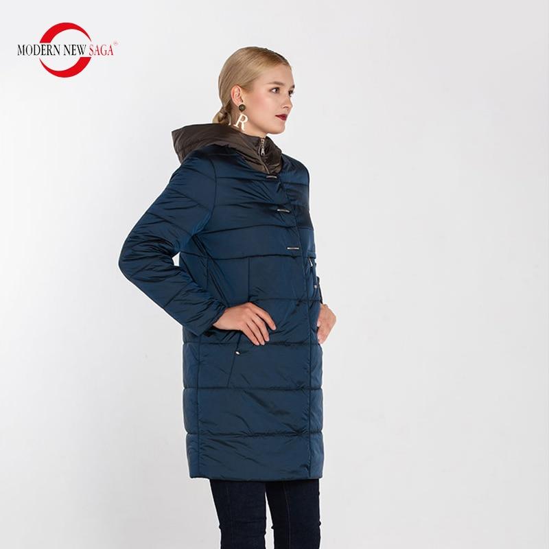 Image 4 - MODERN NEW SAGA 2020 Autumn Women Coat Hooded Cotton Padded Coat  Winter Long Jacket Ladies Parka Plus Size Winter Coat WomenParkas   -