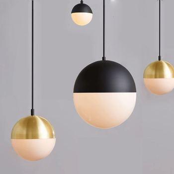 Modern Minimalist White Glass Ball Single Head Pendant Lamp Hardware Gold Plating Led Lighting Restaurant Decoration E27 Bulb