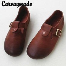 Careaymade-Summer New mori Girl Handmade genuine leather Single Shoes,Leisure Lazy Peoples Flat-soled Full Leather GirlsShoes