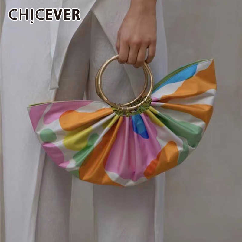 CHICEVER Hit Color Ruched Women's Bag Metal Ferrule Oversized Loose Clothing Accessories Female Bags 2020 Summer Fashion New