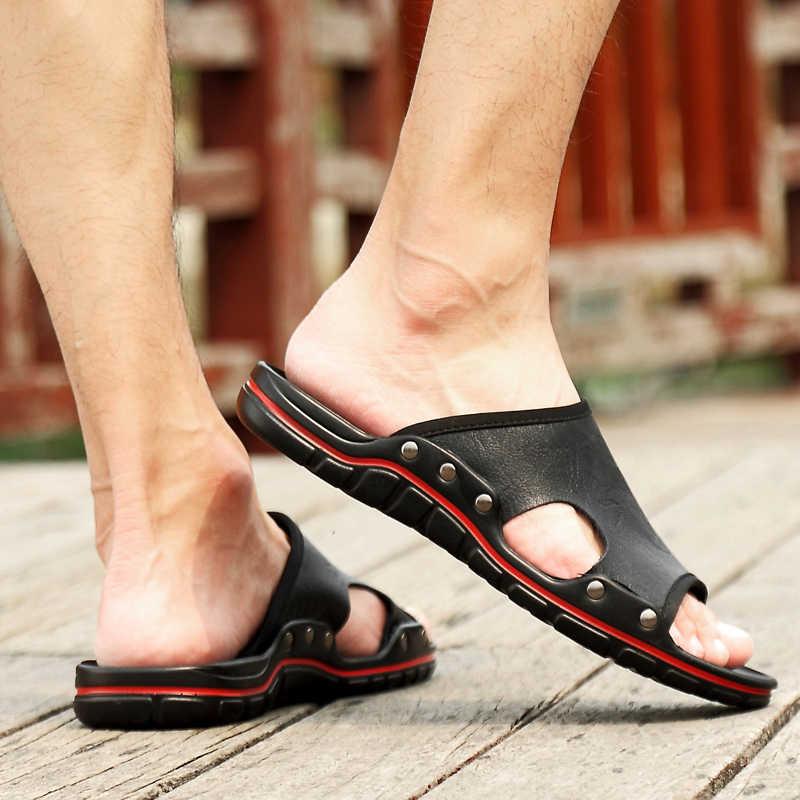 Letnie męskie kapcie odkryte oddychające męskie płaskie buty kapcie plażowe wygodne oryginalne skórzane klapki sandały męskie