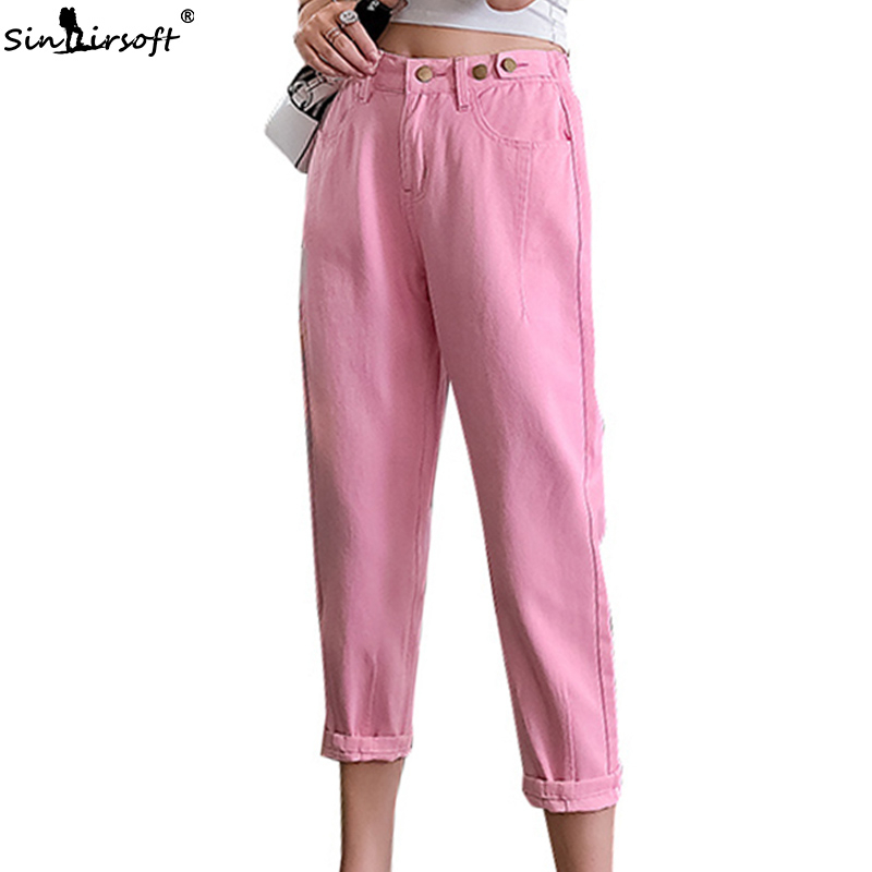 High Waist Denim   Jean   Femme   Jeans   Mujer Harem Pants Hot Women Casual Loose Ankle-Length Pants Woman Yellow Pink Solid Trousers