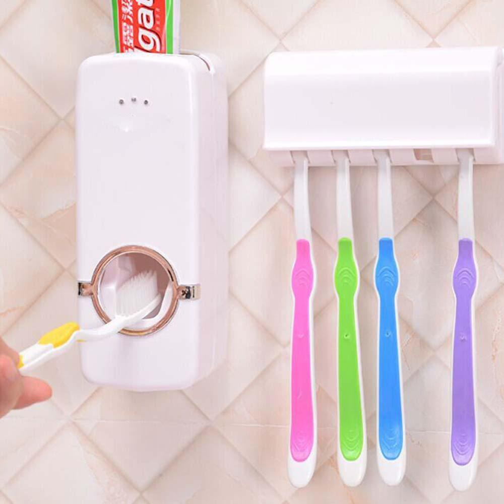 Hot Automatic Toothpaste Dispenser with Toothbrush Holder set Wall Stand Sale Toothbrush Wall Mount Rack Bathroom Tools Set image