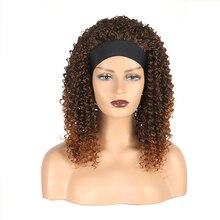 Kinky Curly Headband Wigs Yaki Straight Synthetic Hai Wigs for Black Women Machine Made Wigs16 inch
